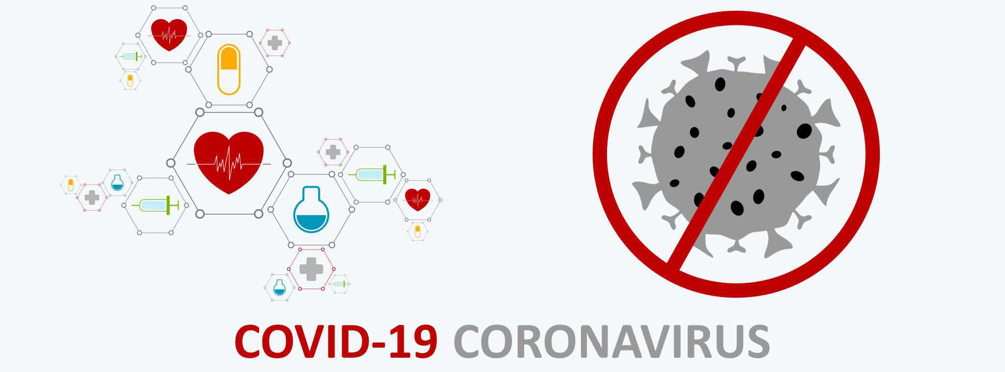 COVID-19 pandemic how did it start coronavirus banner medical molecule